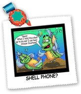 3dRose LLC qs_2446_1 Londons Times Fish Fishing Deep Beneath Cartoons - Fish Hears Jacque Cousteau In Shell - Quilt Squares
