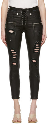 Unravel Black Distressed Leather Lace-Up Trousers