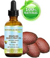 "BURITI FRUIT OIL Brazilian. 100% Pure / Natural / REFINED Undiluted Cold Pressed Carrier Oil . For Face, Body, Hair, Lip and Nail Care. 0.5 fl oz- 15 ml. ""One the richest natural source of vitamin A, E and C"" From Amazon Rainforest. by Botanical Beauty"