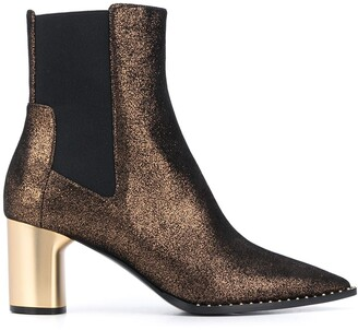 Casadei Glitter Pointed Toe Ankle Boots