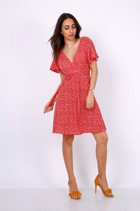 Lilura London Summer Red Daisy Dot Wrap Front Mini Dress