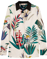 Tory Burch Madison Printed Silk-twill Shirt - White