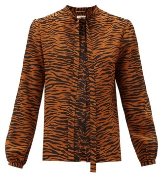 Saint Laurent Pussy-bow Tiger-print Silk Blouse - Animal