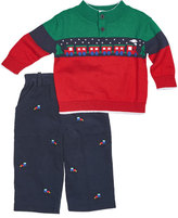 Florence Eiseman Colorblock Train Sweater w/ Corduroy Pants, Navy, Size 12-24 Months