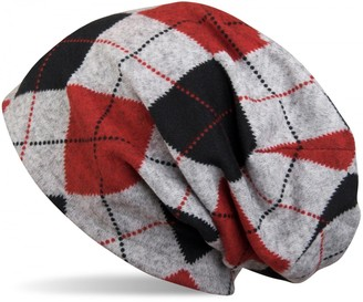 styleBREAKER Flecked Vintage Style Classic Checked Pattern fine Knit Slouch Beanie Unisex 04024055