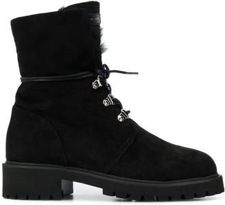 Giuseppe Zanotti mink fur lace-up boots