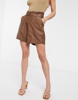 Asos DESIGN leather look short with pockets and paperbag waist