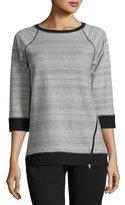 Pure Handknit Sport Sweatshirt W/ Diagonal Zip Detail