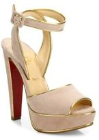 Christian Louboutin Louloudance 140 Metallic-Trim Suede Platform Sandals