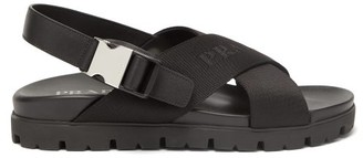 Prada Logo-jacquard Buckled Canvas And Leather Sandals - Black