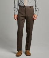 Todd Snyder Black Label Herringbone Linen Sack Suit Trouser in Brown