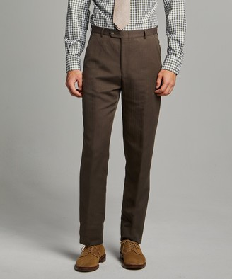Herringbone Linen Sack Suit Trouser in Brown
