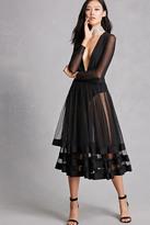 Forever 21 FOREVER 21+ Sheer Mesh Layered Midi Skirt