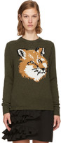 MAISON KITSUNÉ Khaki Lurex Fox Head Sweater