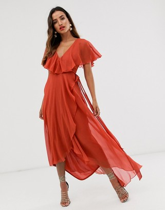 ASOS DESIGN cape back dipped hem maxi dress