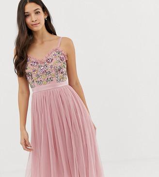 Maya cami strap contrast embellished top tulle detail midi dress in vintage rose-Pink