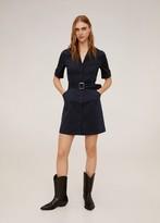 MANGO Belt buckle tortoiseshell dress navy - 2 - Women