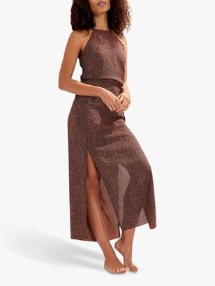 Oasis Spot Print Maxi Dress, Black/Multi