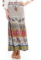 John Mark Mixed Print Peasant Maxi Skirt