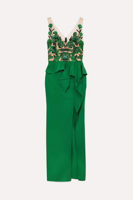 Marchesa Beaded Mesh And Crepe Peplum Gown - Emerald