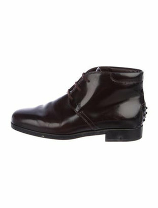 Tod's Leather Round-Toe Booties Brown