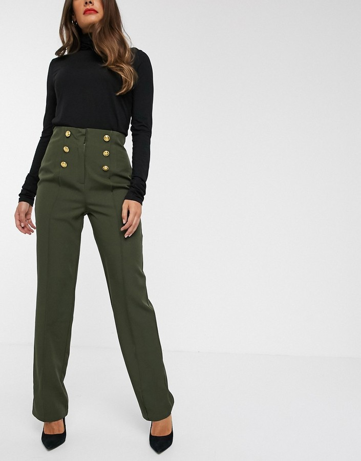 UNIQUE21 military gold buttons tailored pants-Green
