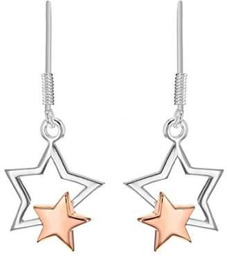 Tuscany Silver Women's Sterling Silver Two-Tone Double Star 15 x 30 mm Drop Earrings