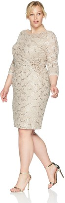 Alex Evenings Women's Plus-Size Short Shift Dress with Hip Beading