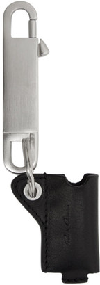 Rick Owens Black Leather Tiny Lighter Case Keychain