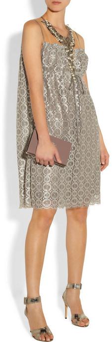 Anna Sui Embellished metallic lace dress