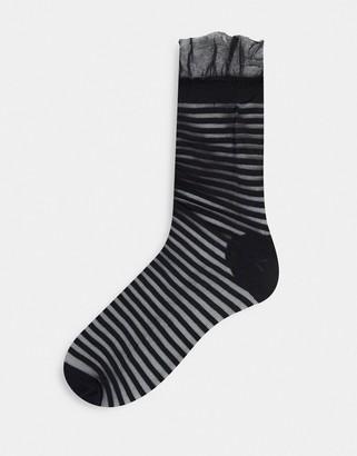 Gipsy sheer mesh ankle socks in black