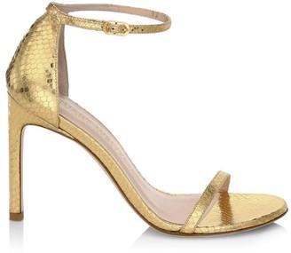 Stuart Weitzman Nudistsong Ankle-Strap Metallic Snakeskin-Embossed Leather Sandals