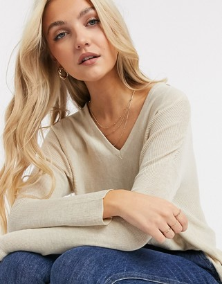 JDY long sleeve pullover knitted sweater in oatmeal