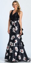 Dave and Johnny Daisy Print Ruffled Open Back Prom Dress