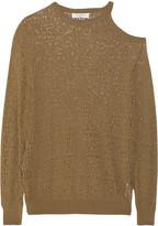 Sandro Sepia cutout pointelle-knit sweater