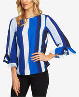 CeCe Striped Ruffled Blouse