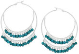 Macy's Manufactured Faceted Turquoise Double Hoop Earrings in Sterling Silver (3/8 ct. t.w.)
