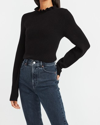 Express Ribbed Ruffle Neck Balloon Sleeve Sweater