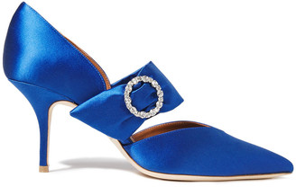 Malone Souliers Maite Crystal-embellished Satin Pumps