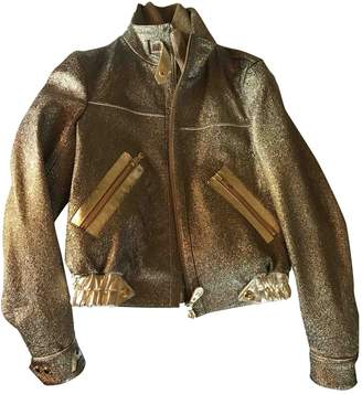 Hogan Gold Leather Jacket for Women