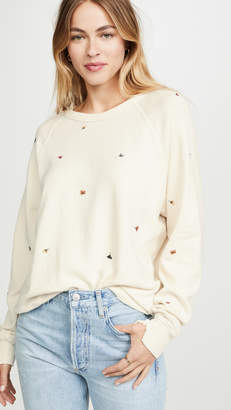 The Great The College Sweatshirt with Multi Poppy Embroidery