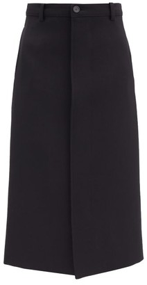 Balenciaga Logo-banded Waist Pleated Wool-blend Skirt - Black