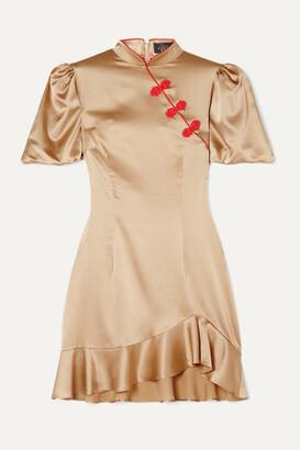 De La Vali Bluebell Appliqued Ruffled Satin-twill Mini Dress - Gold