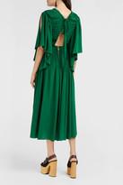 Rochas Pleated Silk-Crepe Open-Back Dress