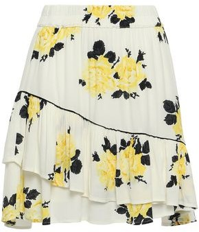 Ganni Ruffled Floral-print Crepe Mini Skirt