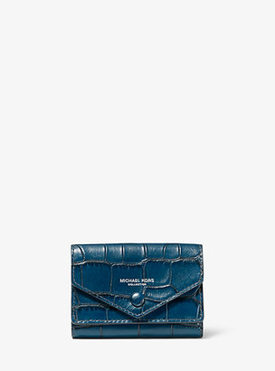 Michael Kors Crocodile-Embossed Leather Small Pocket Wallet