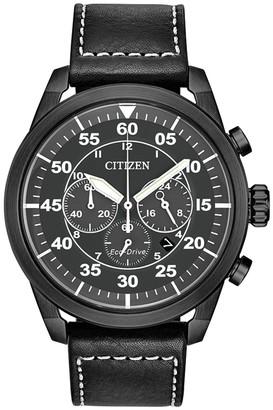 Citizen Men's Standard Leather Eco-Drive Watch, 44mm