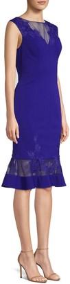 Aidan Mattox Lace-Accented Cocktail Dress