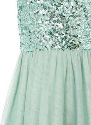 Monsoon Girls Truth Sage Sequin Hanky Hem Dress - Green