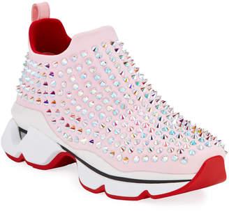 Christian Louboutin Krystal Donna Red Sole Sock Sneakers